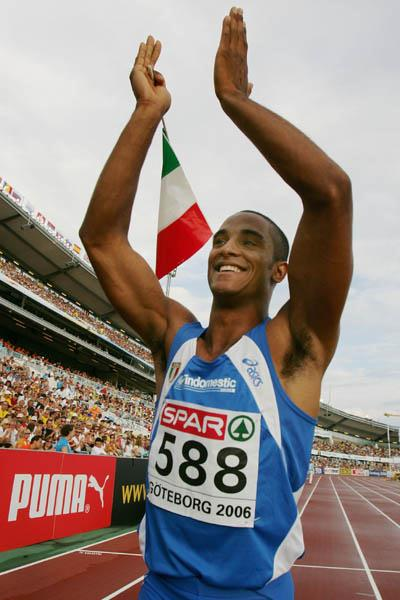 Andrew Howe celebrates his Long Jump victory in Gothenburg (Bongarts)