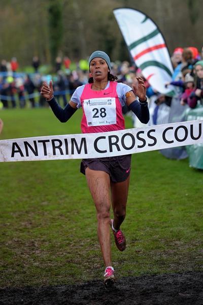 Bahrain's Mimi Belete winning at the 2014 Antrim IAAF International Cross Country  (Mark Shearman)