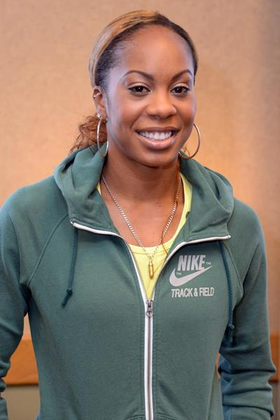 Sanya Richards-Ross at the press conference ahead of the 2013 IAAF Diamond League meeting in Eugene (Kirby Lee)
