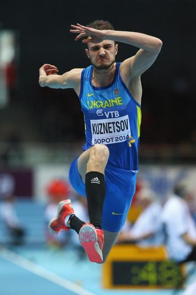 Viktor Kuznetsov in the triple jump at the 2014 IAAF World Indoor Championships in Sopot (Getty Images)