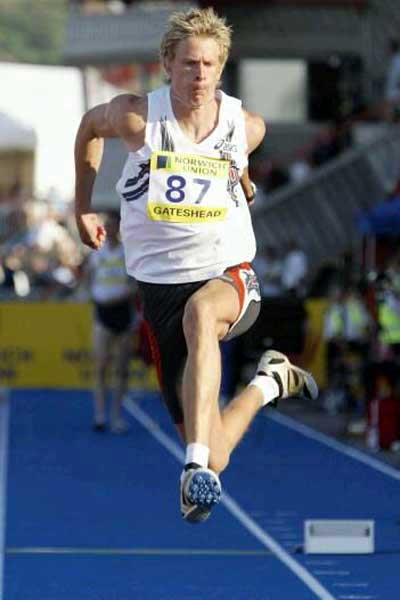 Christian Olsson jumps to a windy 17.92m in Gateshead (Getty Images)