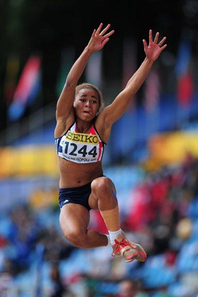 Jazmin SAWYERS of Great Britain in action during the Girls Heptathlon long jump - Day Four - WYC Lille 2011 (Getty Images)