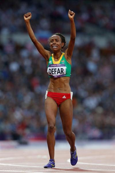 Meseret Defar of Ethiopia celebrates winning gold in the Women's 5000m Final of the London 2012 Olympic Games on August 10, 2012 (Getty Images)