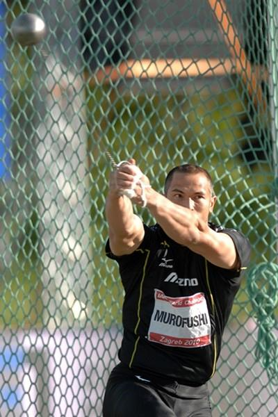 Koji Murofushi throwing in Zagreb and winning the overall IAAF Hammer Throw Challenge title (Zagreb meeting organisers)