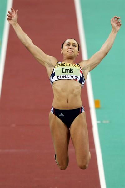 Jessica Ennis of GBR competes in the Pentathlon Long Jump (Getty Images)