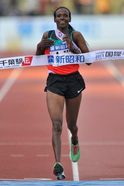 Pamela Lisoreng brings home the victory for Kenya and the Chiba Ekiden (Kazuo Tanaka/Agence SHOT)