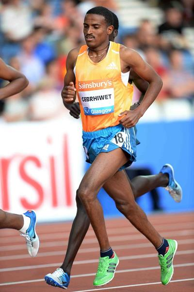 Hagos Gebrhiwet at the 2014 IAAF Diamond League meeting in Glasgow (Jiro Mochizuki)
