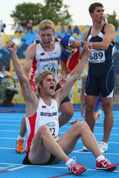 Jan Felix Knobel of Germany celebrates winning the Men's Decathlon after the final discipline of the 1500m (Getty Images)