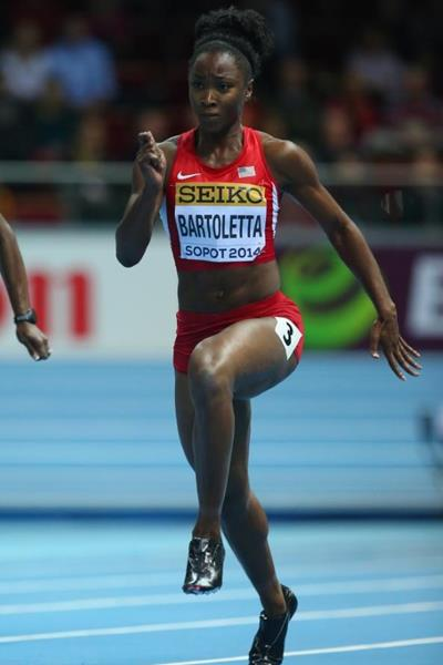 Tianna Bartoletta in the 60m at the 2014 IAAF World Indoor Championships in Sopot (Getty Images)