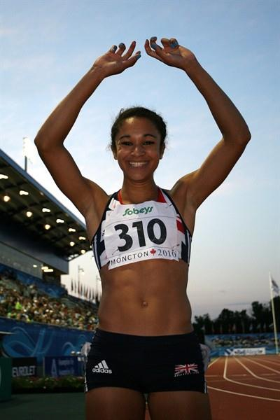 Jodie Williams celebrates becoming the first British woman to win the World Junior 100m title (Getty Images)