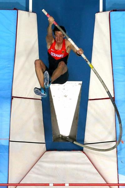 Malte Mohr in the pole vault final at the 2014 IAAF World Indoor Championships in Sopot (Getty Images)