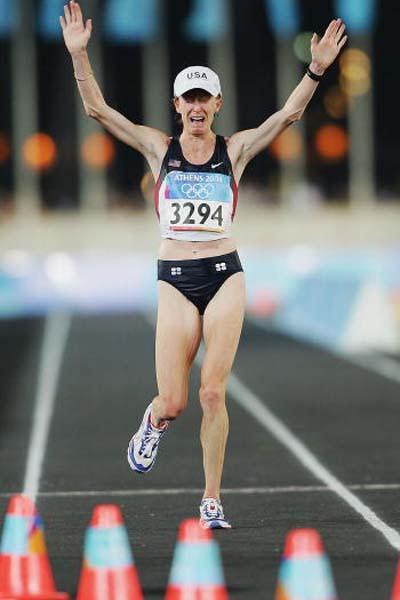 Deena Kastor of the US takes bronze in the women's marathon (Getty Images)