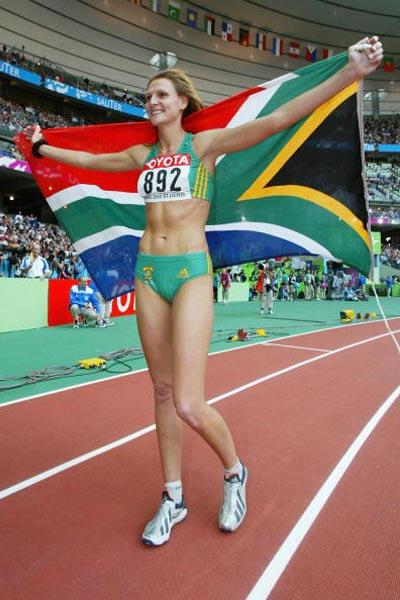 Hestrie Cloete celebrates winning the high jump final (Getty Images)