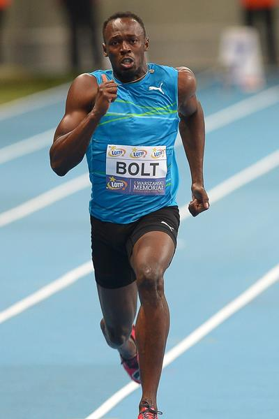 Usain Bolt at the 2014 LOTTO Kamila Skolimowska Memorial meeting in Warsaw (Marek Biczyk / organisers)