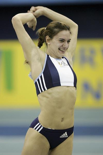 Yelena Isinbayeva celebrates setting a new World Indoor record in Birmingham (Getty Images)