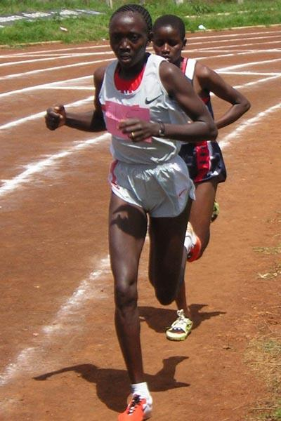 Rose Cheruiyot on her way to win the 5000 metres during the North Rift provincial championships (David Macharia)
