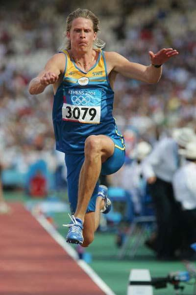 Christian Olsson of Sweden qualifies for the Triple Jump final in Athens (Getty Images)