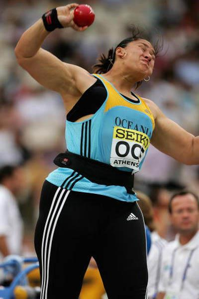 Valerie Vili of New Zealand (Oceania) completes first senior global title win in Athens (Getty Images)