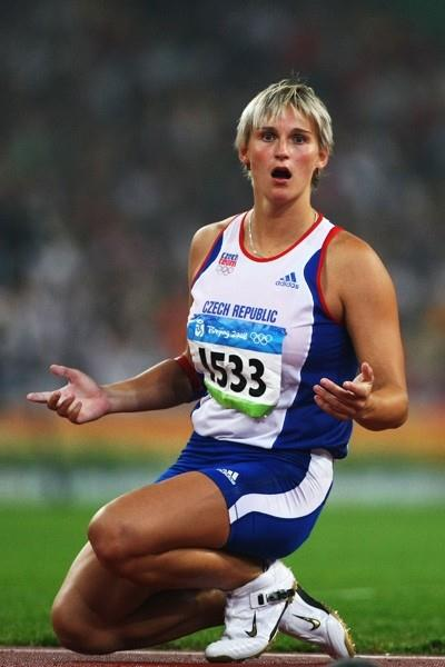 Barbora Spotakova waits for the javelin to land on her last attempt as she wins the Olympic javelin title (Getty Images)