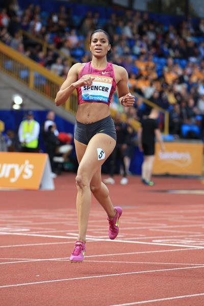 Kaliese Spencer at the 2014 IAAF Diamond League meeting in Birmingham (Jean-Pierre Durand)
