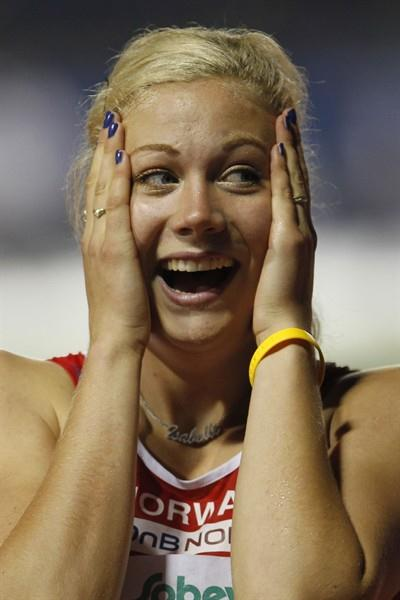 Isabelle Pedersen in disbelief after winning the 100m Hurdles final (Getty Images)