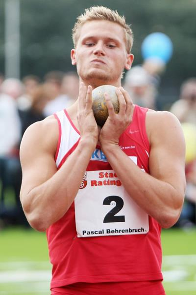 Germany's Pascal Behrenbruch in the decathlon shot (Getty Images)