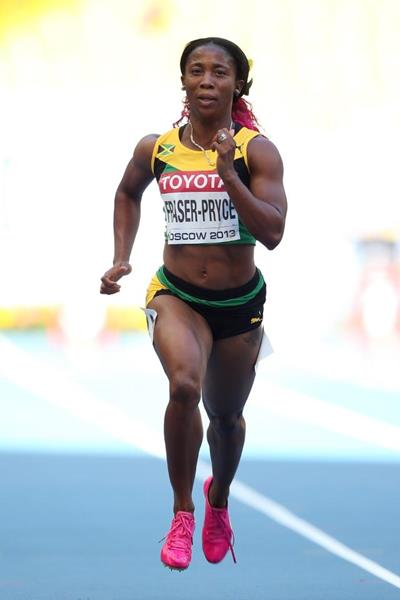 Shelly Ann Fraser Pryce in the womens 100m at the IAAF World Athletics Championships Moscow 2013 (Getty Images)