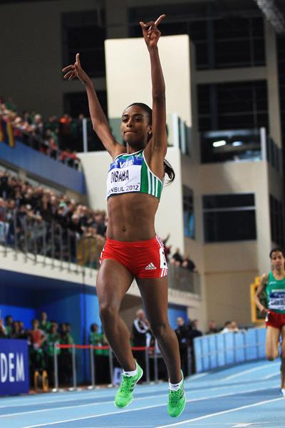 Ethiopia's Genzebe Dibaba wins the world indoor title (Getty Images)