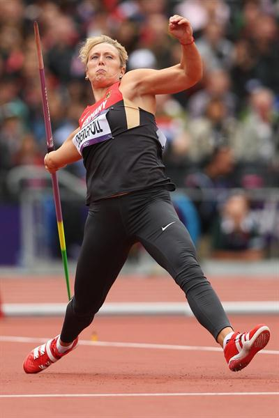 Christina Obergfoll of Germany competes in the Women's Javelin Throw Qualification on Day 11 of the London 2012 Olympic Games at Olympic Stadium on August 7, 2012 (Getty Images)