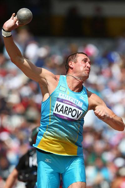 Dmitriy Karpov of Kazakhstan competes in the Men's Decathlon Shot Put on Day 12 of the London 2012 Olympic Games at Olympic Stadium on August 8, 2012  (Getty Images)