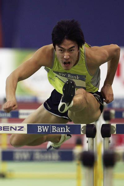 Liu Xiang en route to his 7.42 Asian record in Karlsruhe (Bongarts)