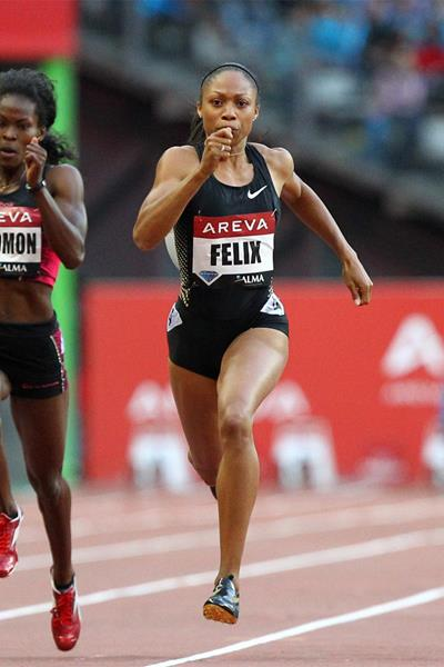 Allyson Felix in action in the 200m at the Diamond League meeting in Paris (Errol Anderson)