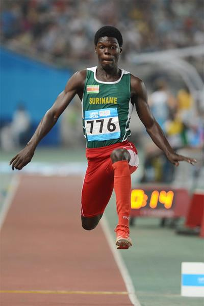 Miguel van Assen on his way to triple jump gold at the Youth Olympic Games in Nanjing (YOG LOC)