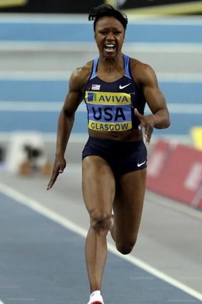 Carmelita Jeter (USA) wins the 60m in Glasgow (Getty Images)