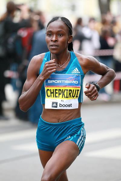 Joyce Chepkirui on her way to winning the Sportisimo Prague Half Marathon (VIctah Sailer for Sportisimo Prague Half Marathon)