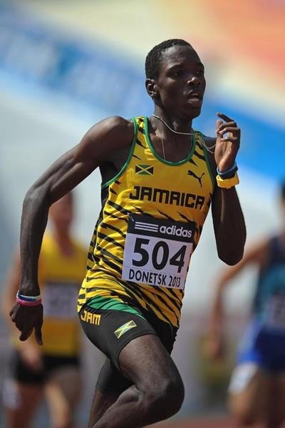 Jamaica's Devaughn Baker in the 400m heats at the 2013 World Youth Championships (Getty Images)