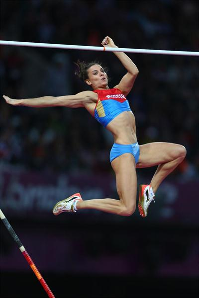 Yelena Isinbayeva of Russia competes in the Women's Pole Vault final on Day 10 of the London 2012 Olympic Games at the Olympic Stadium on August 6, 2012 (Getty Images)