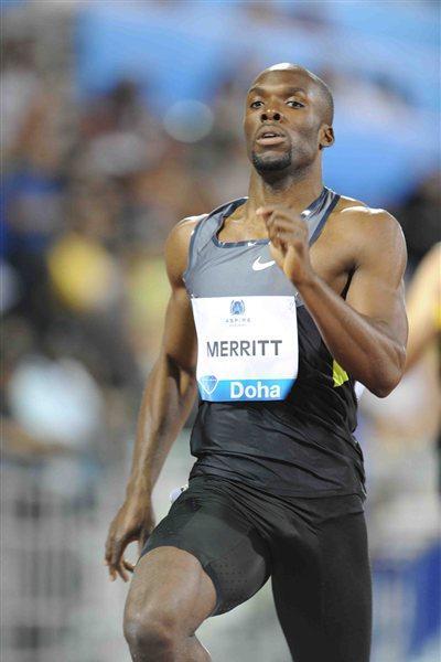 LaShawn Merritt in the 400m at the 2012 Samsung Diamond League in Doha (Jiro Mochizuki)