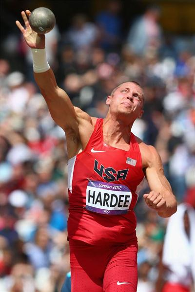 Trey Hardee of the United States competes in the Men's Decathlon Shot Put on Day 12 of the London 2012 Olympic Games at Olympic Stadium on August 8, 2012 (Getty Images)