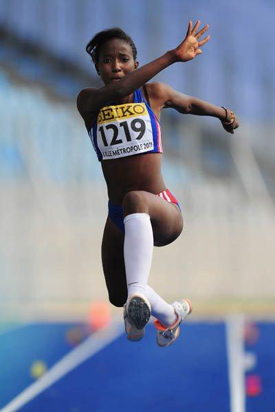 Sokhna Galle of France wins the Girls' Triple Jump World Youth title in Lille (Getty Images)