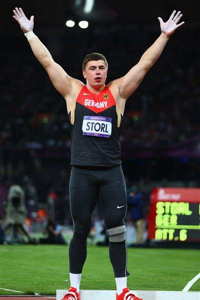 David Storl of Germany celebrates his silver medal in the Men's Shot Put Final on Day 7 of the London 2012 Olympic Games at Olympic Stadium on August 3, 2012 (Getty Images)