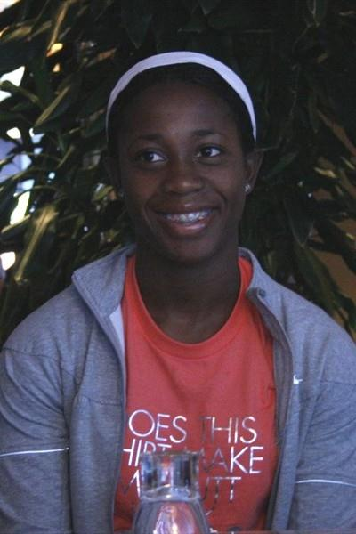 Shelly Ann Fraser at the pre-meet press conference in Rome (Bob Ramsak)