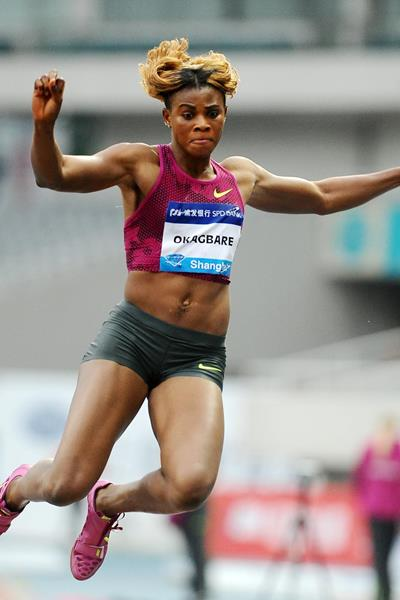 Blessing Okagbare in the long jump at the 2014 IAAF Diamond League meeting in Shanghai (Errol Anderson)