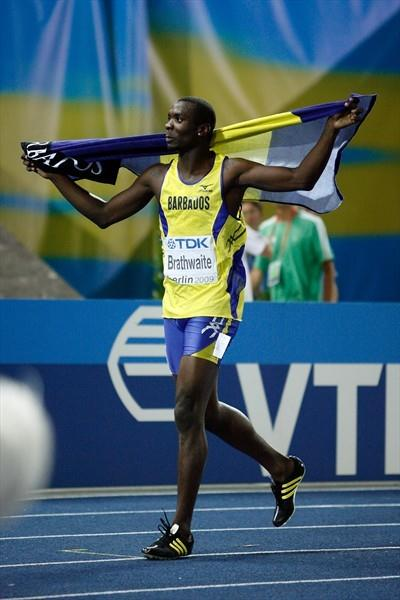 Ryan Brathwaite of Barbados celebrates winning the gold medal in the men's 110m Hurdles final in Berlin (Getty Images)