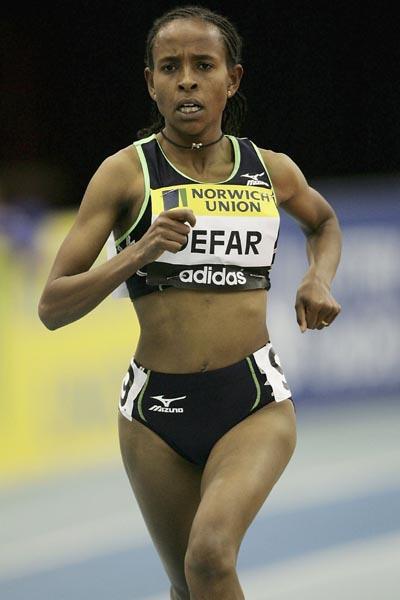 Meseret Defar of Ethiopia wins the 3000m in Birmingham (Getty Images)