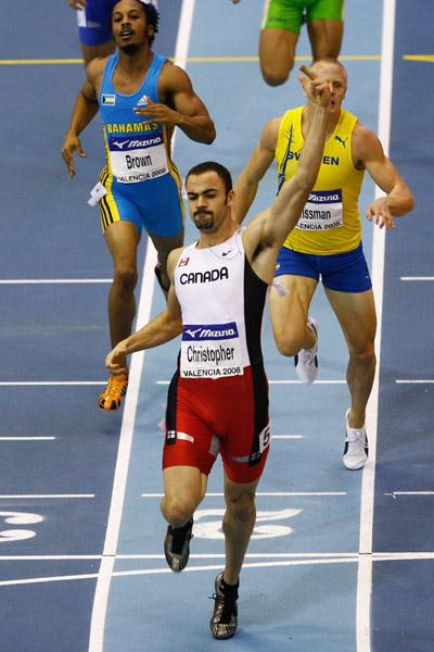 Tyler Christopher finishes ahead of Johan Wissman and Chris Brown in the men's 400m (Getty Images)
