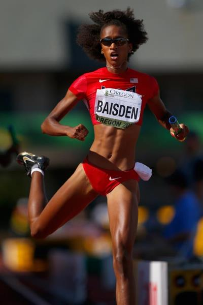 Kendall Baisden in the 4x400m at the IAAF World Junior Championships, Oregon 2014 (Getty Images)