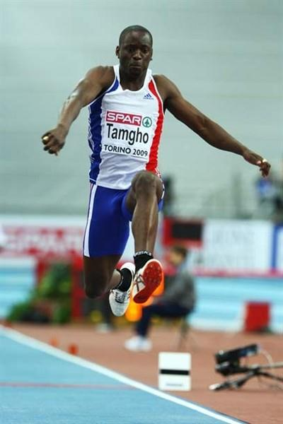 World Triple Jump leader Teddy Tamgho crashes out of the qualification rounds of the European Indoor Championships (Getty Images)