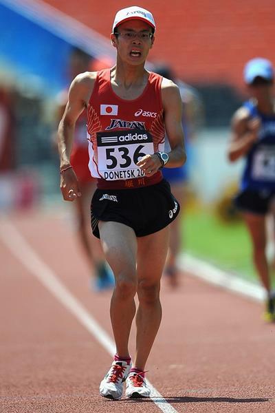 Toshikazu Yamanishi winning at the 2013 IAAF World Youth Championships (Getty Images)