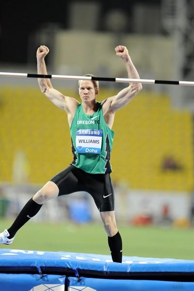 Jesse Williams after his 2.33m leap to seal the win in Doha (Jiro Mochizuki)